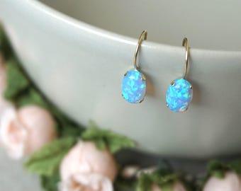 14K Gold Earrings, Blue Opal Earrings, October Birthstone, Oval Drop Earrings, Gold Drop Earrings, Opal Earrings, Handmade Jewelry,