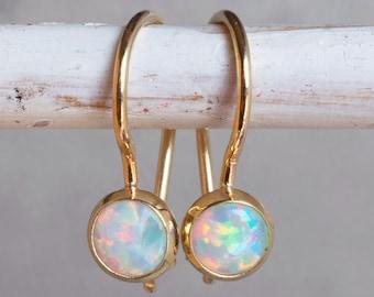 Opal Earrings, 14k Gold Earrings, Opal Jewelry, Solid Gold Earrings, October Birthstone, Gold Earrings For Women, Personalized Gift
