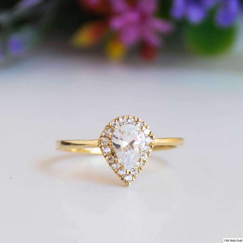 Dainty Ring Cubic Zirconia Rings Zirconia Ring Wedding Ring Stone Ring 14K Gold Ring Engagement Ring Promise Ring For Her