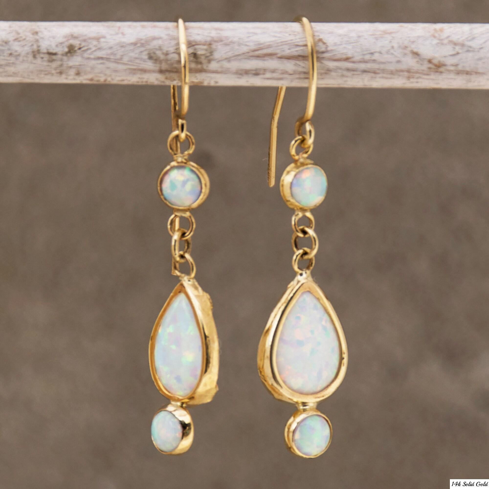 eef769dee White Opal earrings 14K Gold Drop Earrings Opal Dangle | Etsy