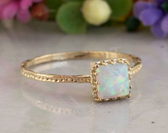 White Opal ring | 14K Solid Gold Square Ring | Dainty Gold Ring | October Birthstone | Gemstone Gold Ring | Solitaire Opal Ring | Handmade