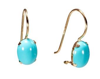 14k Gold Earrings, Turquoise Earrings, Turquoise Jewelry, Gold Drop Earrings, Gold Earrings, Solid Gold Earrings, Turquoise Stone