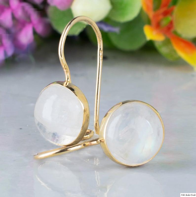 Wedding Earrings Dangle Earrings 14k Gold Earrings Geometric Earrings Handmade Jewelry Moonstone Earrings Simple Gold Earrings