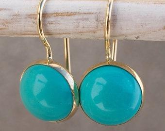 Turquoise Earrings, Blue Earrings, Turquoise Jewelry, 14k Gold Earrings, Bohemian Earrings, Dangle Earrings, Birthstone Jewelry