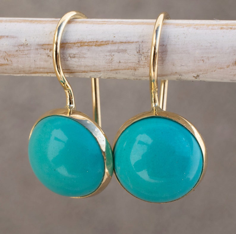 14k Gold Turquoise Earrings Blue Earrings Turquoise Jewelry image 1