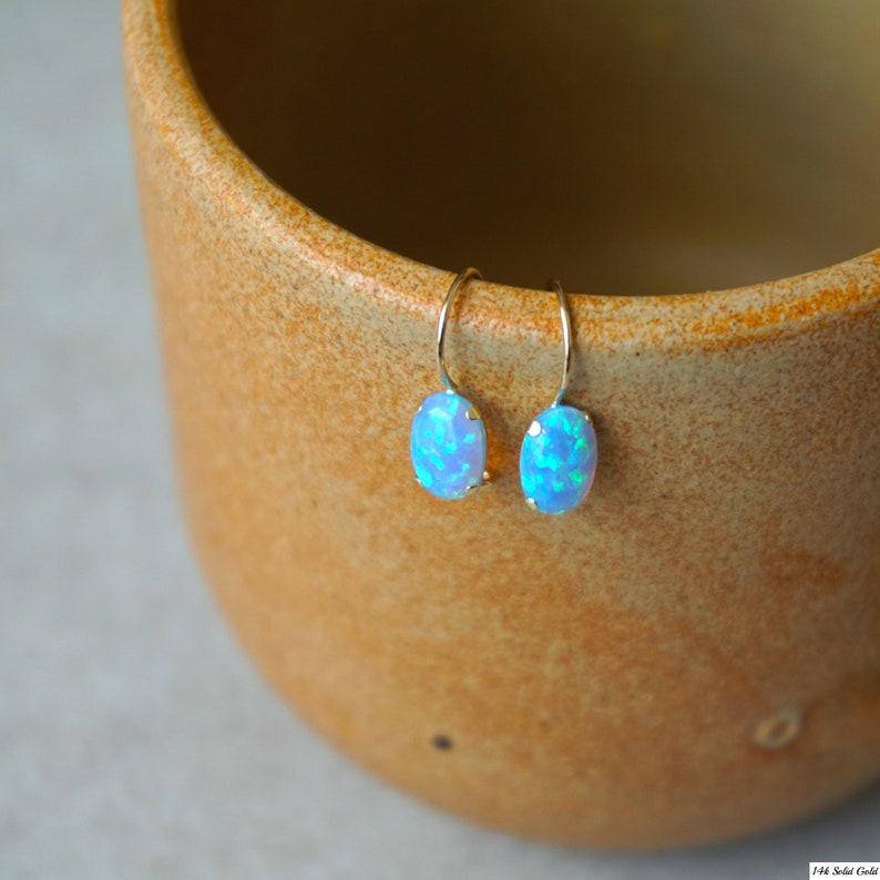 Gift for Her Opal Earrings 14K Gold Earrings,Dangle Earrings Solid Gold Earrings Gemstone Jewelry Tiny Earrings,Handmade Opal Jewelry