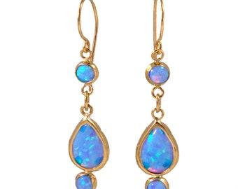 Opal Earrings, Blue Opal Earrings, Birthstone Earrings, Dainty Earrings, Gemstone Earrings, Bridal Earrings,,, Mothers Day Sale