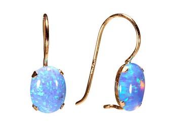 Opal Earrings, 14K Gold Earrings,Dangle Earrings, Solid Gold Earrings, Gemstone Jewelry, Opal Jewelry , Gift for Her, Tiny Earrings,Handmade