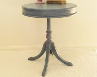 Blue Living Room Side Table, Round Drum Side Table, Hand Painted Aubusson  Blue Chalk Paint, Classic Nautical Blue, Claw Foot Pedestal Table