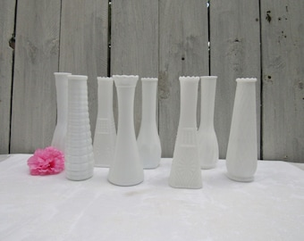 Milk Glass Vase Collection, Eight 9 inch White Vases, Shabby Chic Wedding Vases, Centerpiece Vases, Table Number Vases, Beach Wedding Vases