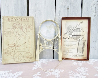 Vintage Hands Free Magnifier. EZ Mag Magnifying glass for needlework, jewelry making, Crafting, Embroidery, Sewing, Quilting, Model Building