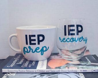 IEP Wine Glass and Coffee Mug Set - IEP Prep and IEP Recovery Set - Special Needs Parents Wine Glass - Special Needs Mom - Special Needs Dad