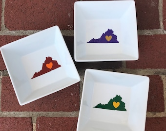 Custom Virginia College Gift -Larger Sized Candy Dish - VCU - JMU - Virginia Tech- UVA - William & Mary - Graduation Gift