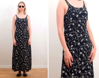 6c129161e2f40 Vintage dress/ Summer dress/ Full dress/ Black - dark blue flower pattern  dress/ Long dress / Boho style/ Size Small/ UK 10/ EU 36