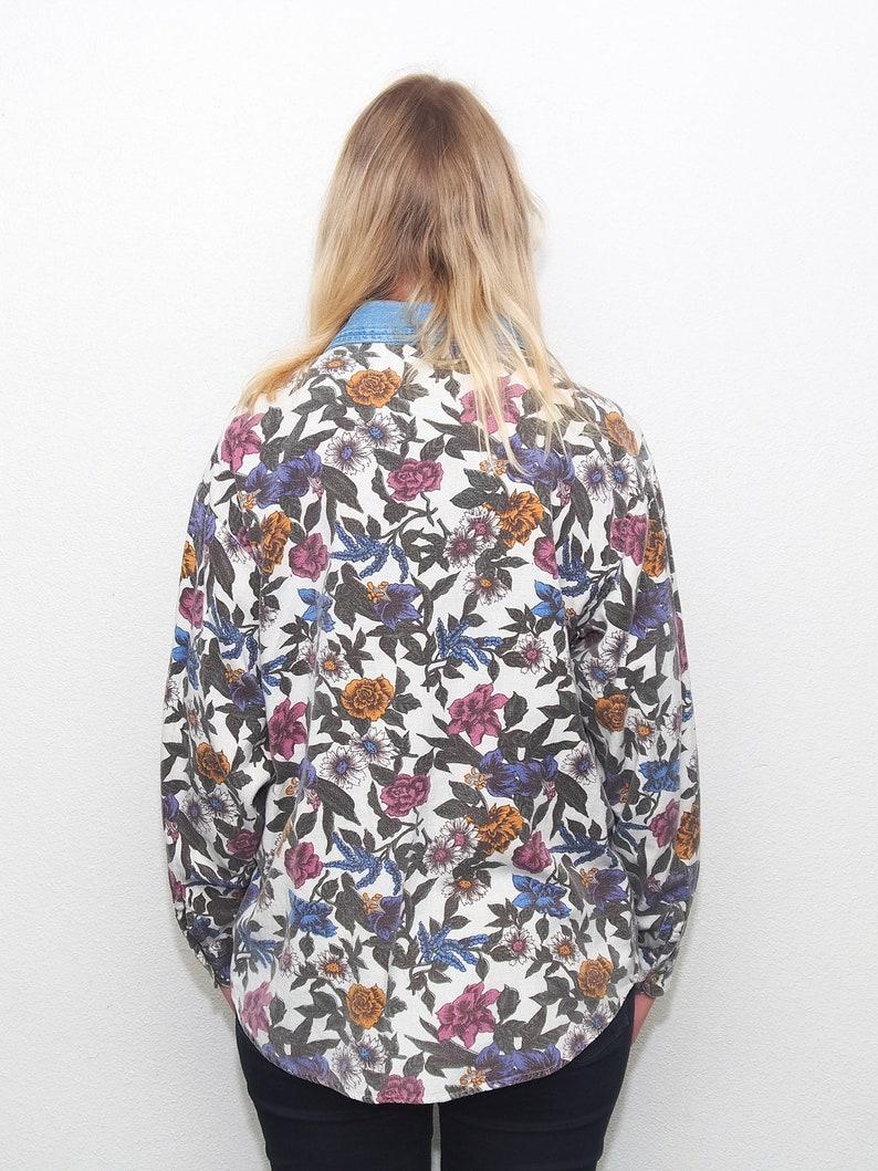 Vintage Floral pattern denim shirt  Jeans shirt Bill Blass Jeans Boho Size Medium  UK 10  EU 38 US 8