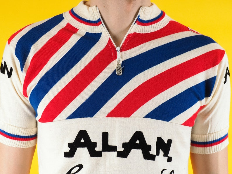 Castelli AlAN striped shirt Bicycle racing 70s Italy Striped red blue   Size Medium  4 Vintage Campagnolo cycling jersey Very rare!!