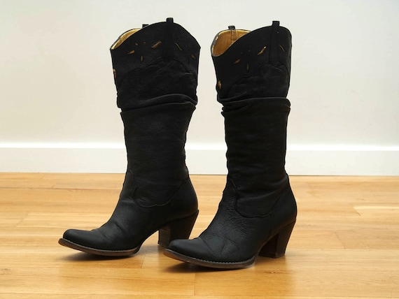 Weinlese Frauen Stiefel Lavorazione Artigiana Leder Schuhe Cowboy Stiefel Stiefel schwarz Größe EU 36 UK 3,5 US Women 6
