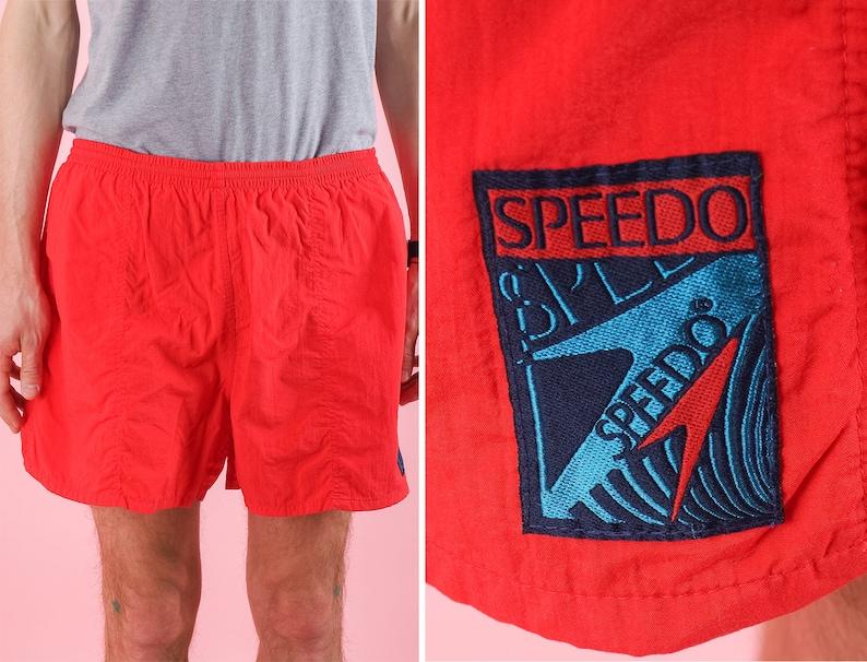 Vintage men Red Speedo swim trunks Beach shorts Classic red shorts 90s swimwear Size Large