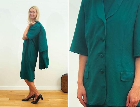 Vintage Ladies Business Suit Summer Dress Blazer Suit Dark Etsy
