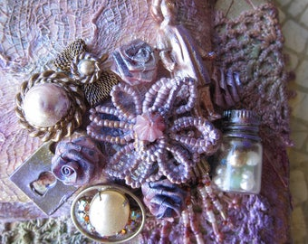 Mixed Media Assemblage 3D Victorian PurpleArt