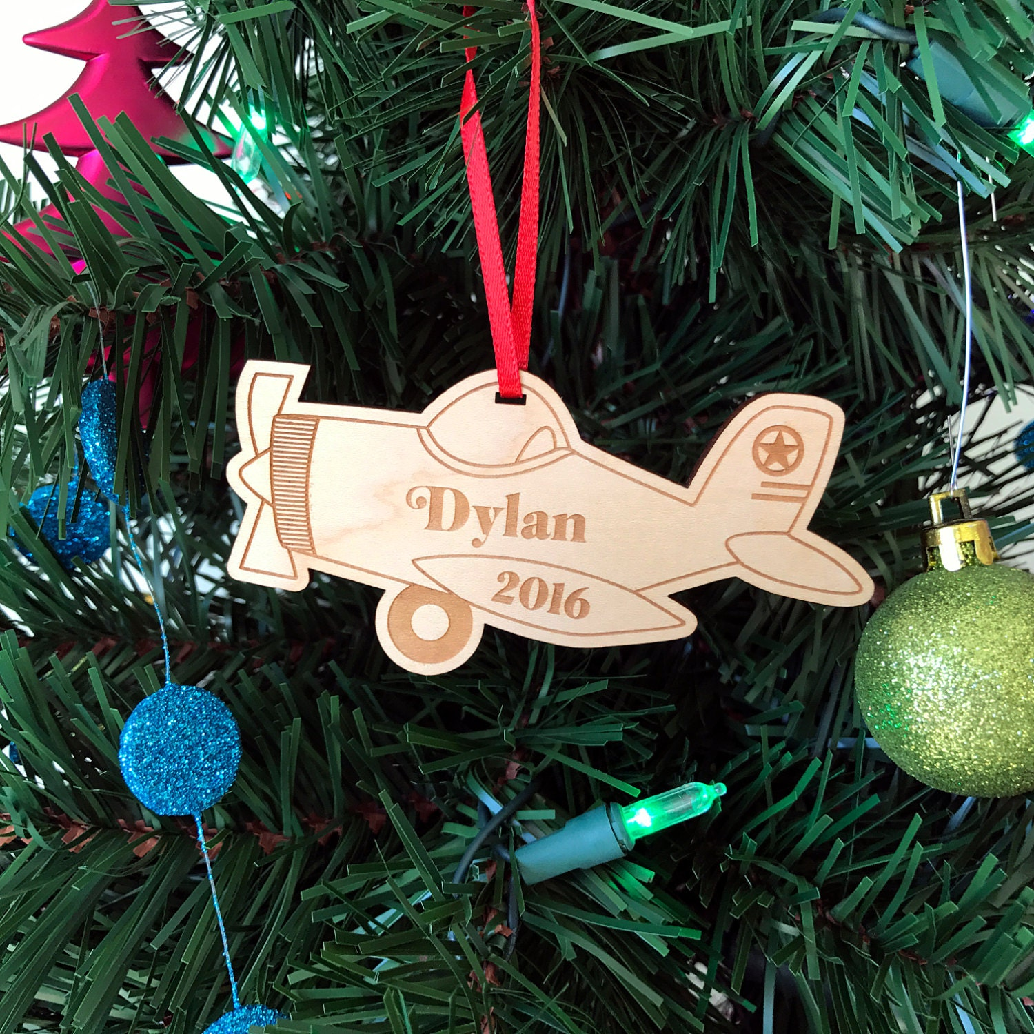 christmas plane ornament wooden ornament handmade babys first christmas gift custom name and date christmas tree decoration wood decor