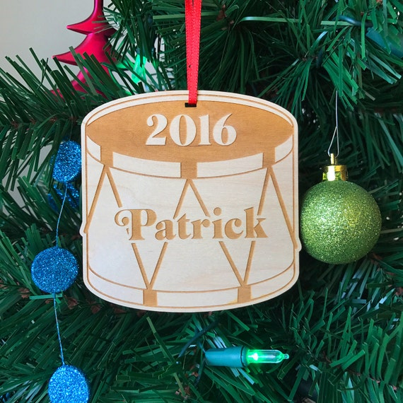 Christmas Drum Decor.Little Drummer Boy Or Girl Wooden Ornament Handmade Baby S First Christmas Gift Custom Name Christmas Tree Decoration Wood Decor
