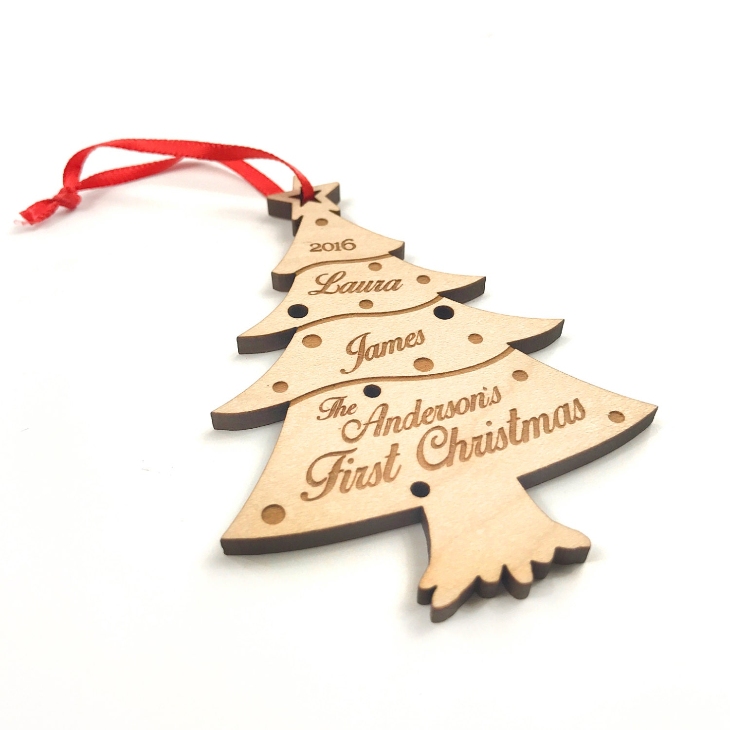 christmas tree ornament wooden ornament handmade christmas gift custom name date christmas tree decoration first christmas wood decor
