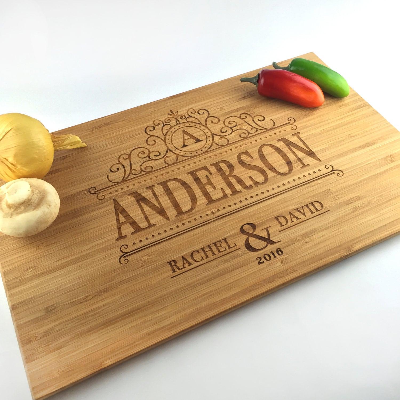 Engraved Wedding Gift Ideas: Cutting Board Personalized Wedding Gift Monogram Last Name