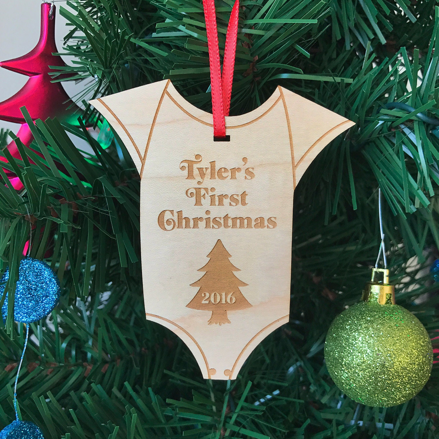 newest 70890 b20c8 Baby's First Christmas Ornament Wooden Ornament Handmade Baby Christening  Christmas Gift Family Name Christmas Tree Decoration Wood Decor