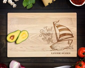 Maple Cutting Board Wedding Sail Away with Me Sailboat Illustration with custom names and date Anniversary Gift Wedding Gift CB0112