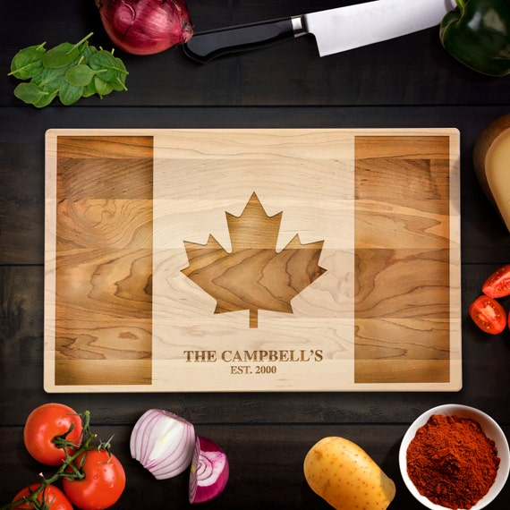 Cutting Board Personalized Rustic Home Decor Canadian Flag Etsy