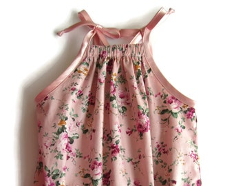 Girls romper, pink floral romper, baby shower gift, pink romper suit, pink sunsuit, baby girl clothes, new baby gift, baby playsuit