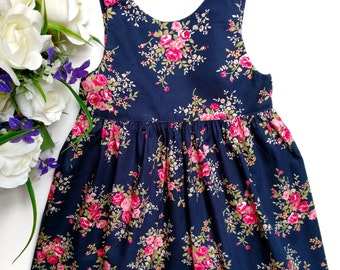 Navy blue floral baby dress. Christmas gift. Blue baby dress. Toddler outfit. Baby girl clothes. Flower girl dress. Girls party dress.