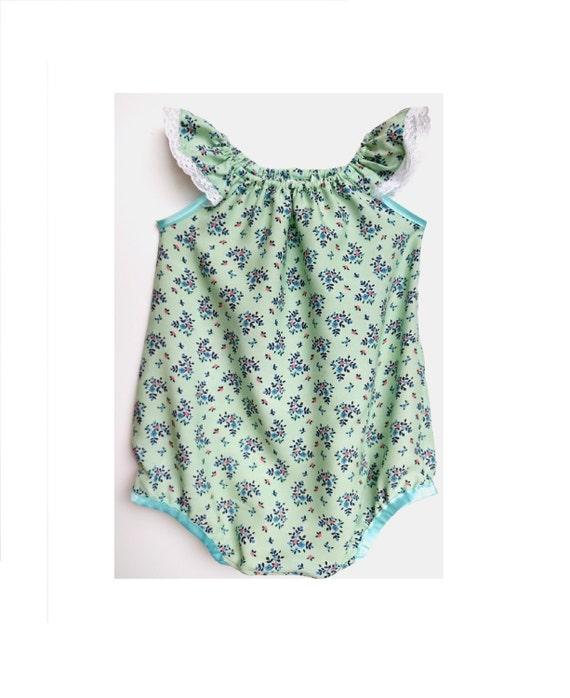 0de84475e mint romper floral romper baby clothes baby girl clothes | Etsy