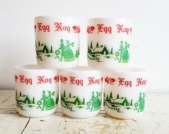 5 Vintage Hazel Atlas Egg Nog Cups - Christmas Milk Glass - White Green Red replacements