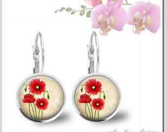 1 Pair of pierced earrings 12 mm poppy flowers OHB-S12-001