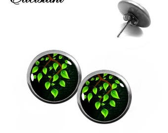 Stud Earrings Stainless steel Cabochonschmuck Green Branch Green Black