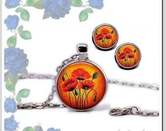 Jewelry Set Necklace stud Earrings 12 mm poppy flower Kit-SB25-008