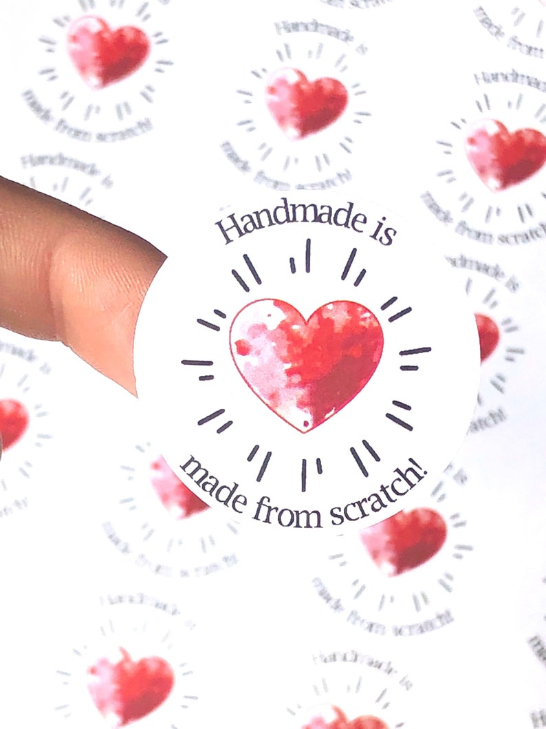 Handmade stickers heart stickers red heart stickers love stickers made from scratch custom stickers custom labels round stickers