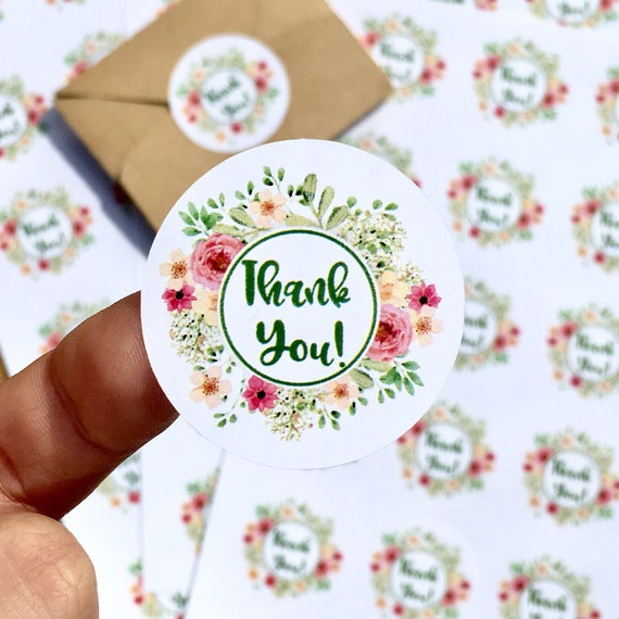 Thank You Floral Wedding Stickers Wedding Favor Stickers Etsy