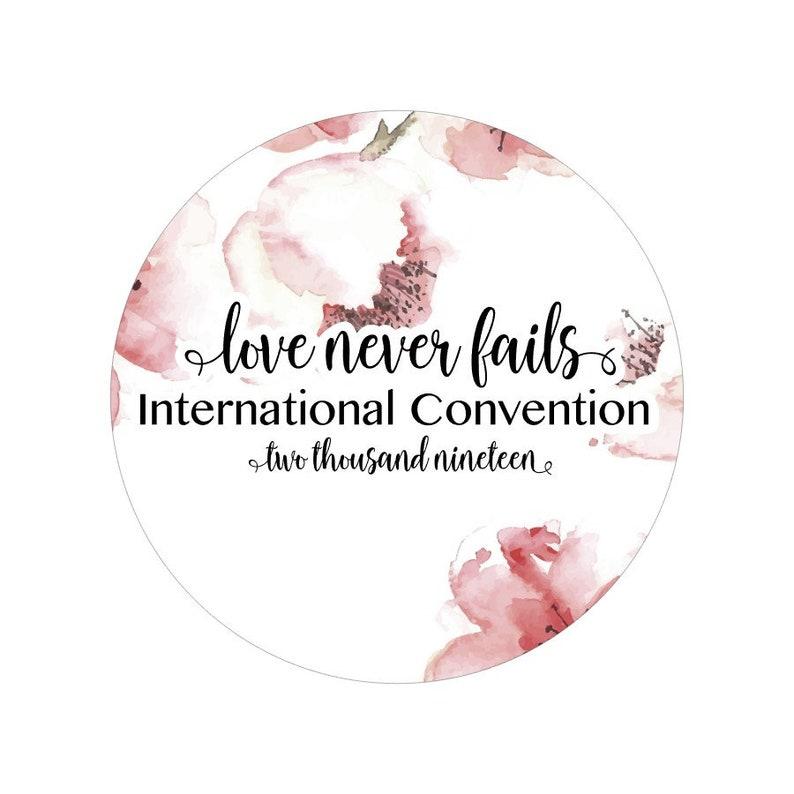 Love Never Fails, International Convention 2019, Jw, Jw Stuff,  International Gifts, Stickers International, Gift Bag Stickers, Love Sticker