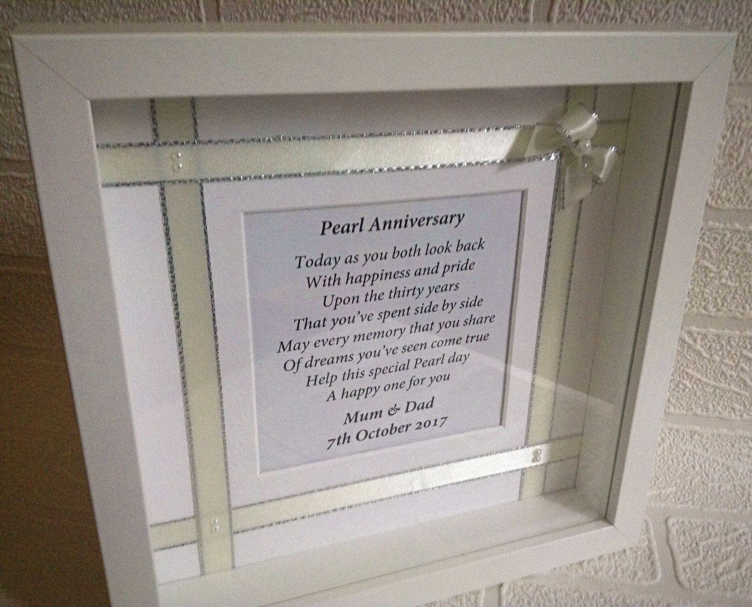 Pearl Anniversary Personalised Gift Frame Married 30 Years