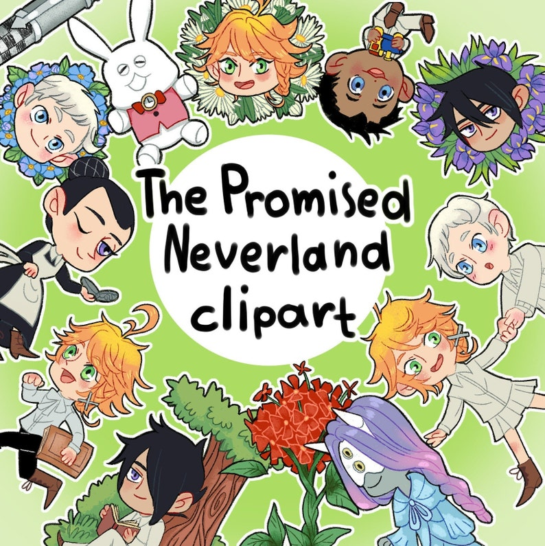 TPN, The Promised Neverland Clipart, Yakusoku no Neverland, Clip Art,  Clipart, Anime set, TPN Set, Emma, Norman, Ray, Phil