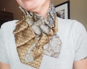 Gold necktie necklace, women's necktie scarf, silk tie cowl, necktie jewelry, repurposed necktie, tie in disguise, ladies necktie, necktie