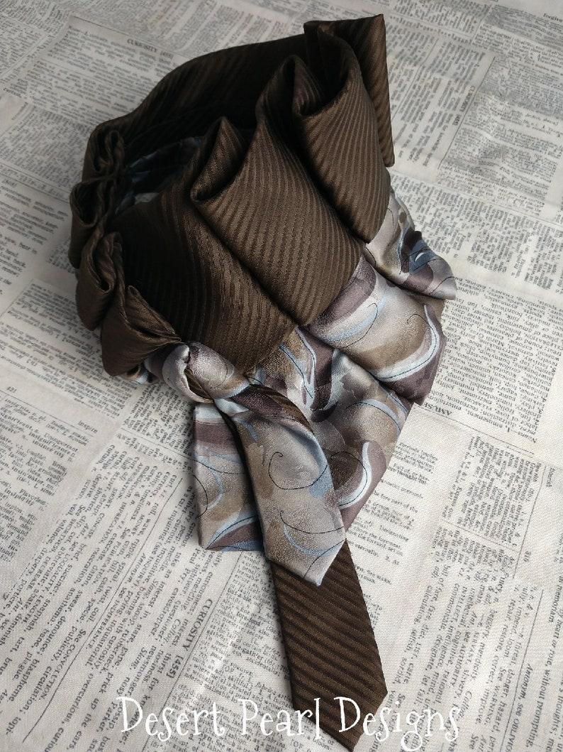 Carob brown necktie silk cowl