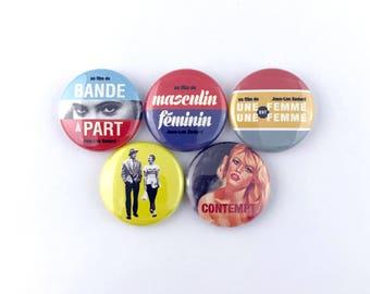 "Jean-Luc Godard Mini-Poster Collection - 1"" Button Pin Set"