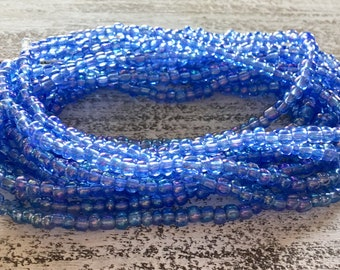 Shimmery blue glass seed bead necklace or bracelet.  Bohemian!