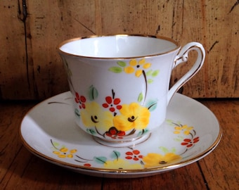 Phoenix ware china teacup and saucer set made in England, vintage china