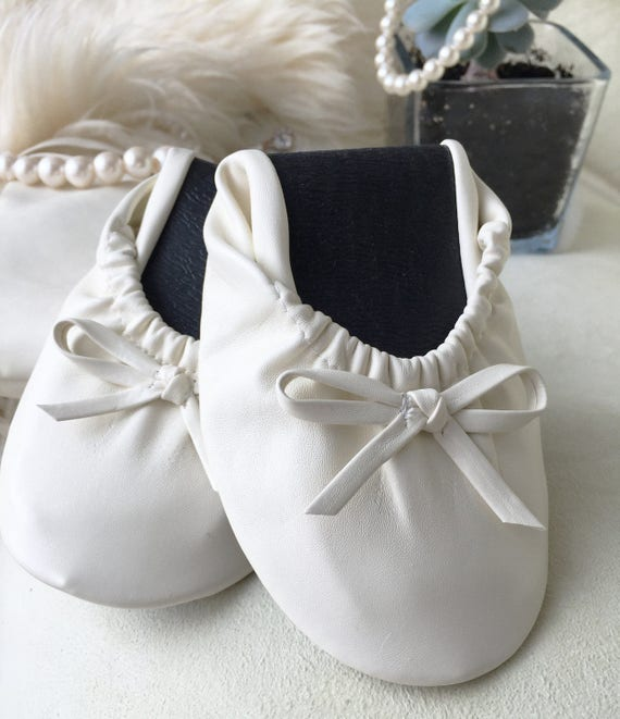 White Foldable Flats, Rollable Ballet Flats, Wedding Flats, Roll-Up Flats, Ballet Flats, Foldup, Dancing Flats, Bridesmaid Flats, Slippers