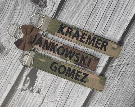 Military, Army Keychain wristlet,  Personalized. (No bow, check other listing for bow)
